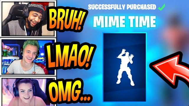 "STREAMERS REACT TO *NEW* ""MIME TIME"" EMOTE/DANCE! *RARE* Fortnite FUNNY & SAVAGE Moments"